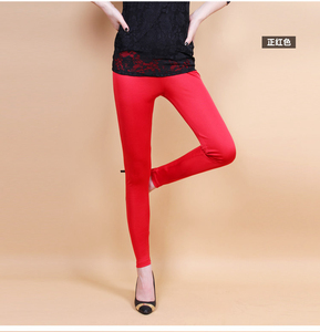 Image 3 - Female 100% real silk double faced long trousers candy silk legging slim pencil pants