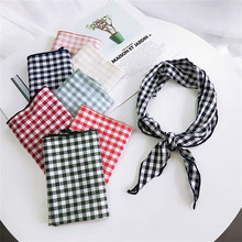 New Fashion Cotton Triangle Towel Lattice Women Triangular Scarf Turban Hairband Bandana For Female Accessories