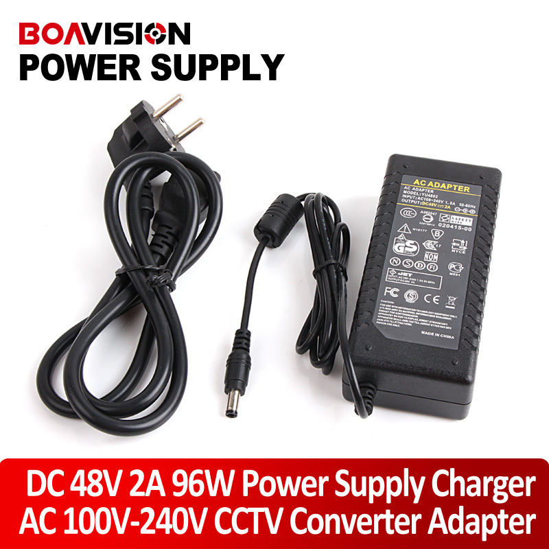 High Quality TO AC 100V-240V Converter Adapter DC 48V 2A 96W Switching Power Supply Charger DC 5.5mm US/EU/UK/AU ac 100 240v to dc 12v 2a switch switching power supply converter adapter eu uk us au 5 5mm 2 5mm plug free shipping