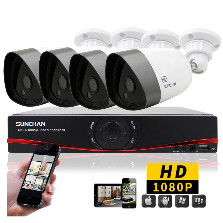 SUNCHAN Full HD AHD-H 4X080P 2.0MP DVR Kits Security Cameras System Waterproof Night Vision CCTV Home Surveillance System