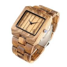BOBO BIRD Rectangle Zebra Mens Wooden Wrist Watch Top Brand Luxury Quartz Watches with Full Wooden Band in Gift Box