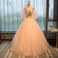 Gorgeous Lantern Sleeves Peach Prom Dresses 2019 Flowers Applique Puffy Evening Party Gowns Corset Costume Long Prom Dress
