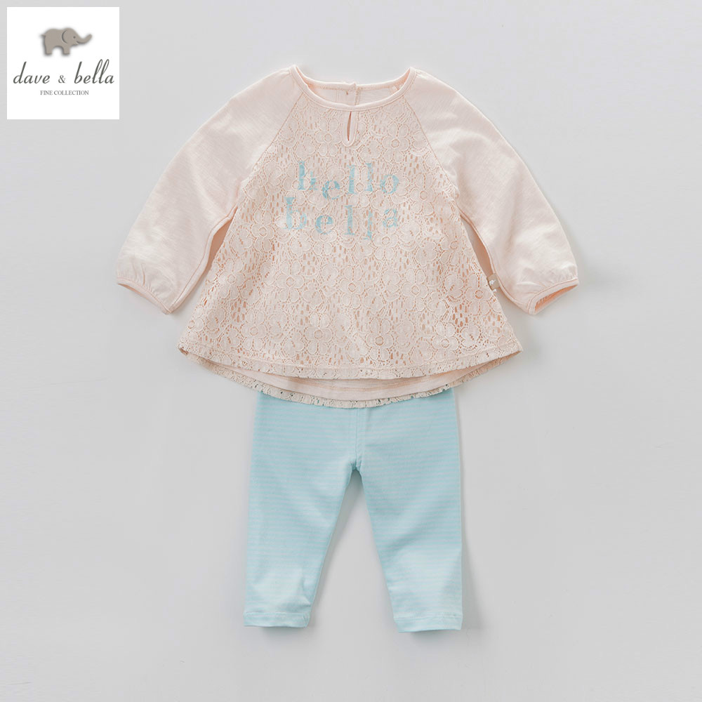 DB4517 dave bella spring baby girls apricot pink clothing sets kids floral clothing sets toddle cloth kids sets baby costumes
