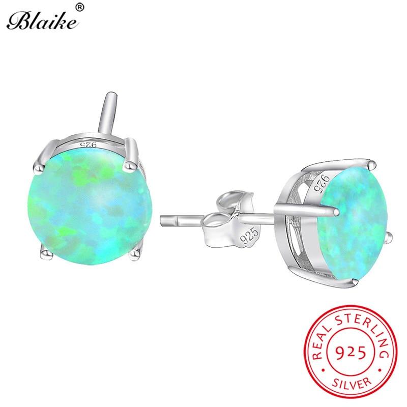 Blaike 8MM Round Stone Green Fire Opal Stud Earrings For Women Genuine 925  Sterling Silver Birthstone Earrings Fashion Jewelry 8e6083ada541