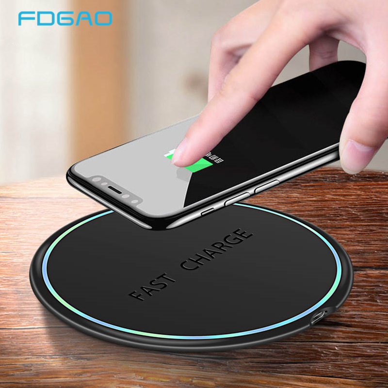 FDGAO 10W Qi Wireless Charger For IPhone 11 X XS XR 8 Quick Charge 3.0 Fast Wireless Charging Pad For Samsung S9 S10 Xiaomi Mi 9