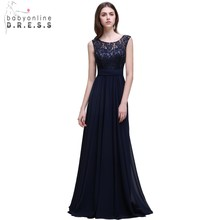 Real Photo Navy Blue brudepike kjoler Long 2017 Chiffon Lace En Line Zipper-Up Gulv Lengde