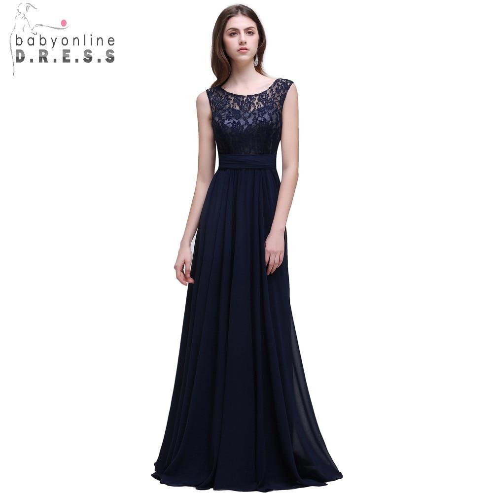 Real Photo Navy Blue Bridesmaid Dresses Long 2017 Chiffon Lace Una - Vestidos de fiesta de boda