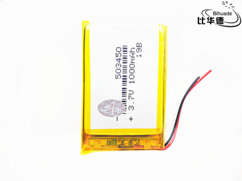 Polymer Lithium Rechargeable battery 1000 mAh Li-ion Lipo battery 3.7V 503450 053450 for smart phone DVD mp3 mp4 Led Lamp camera image