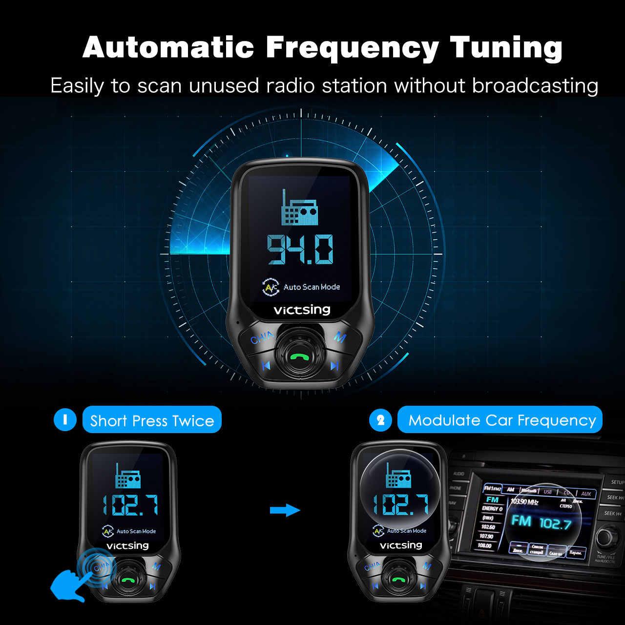 VicTsing Bluetooth FM Đài Phát Thanh Adapter Xe Gọi Điện Thoại Rảnh Tay 3 Cổng USB với QC3.0 Sạc Nhanh Bộ Phát FM Mô Đun