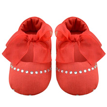 Infant Toddler Princess Rhinestone Lace Bowknot Crib Shoes Soft Sole Bottom Baby Kids Girls Anti-Slip First Walker Shoes 0-18m