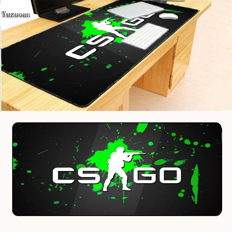 Yuzuoan Free Shipping CS GO Mouse Pad pad Black Overlock Edge Big Gaming Table mouse Pad Send BoyFriend the Best Gift 40x90cm