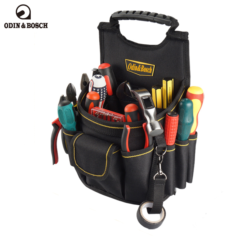 Odin&Bosch Electrician Waist Bag Tool Holder Convenient Work Organizer Pouch Belt Men Multi-Pockets Tool Bag For Hand Tools odin&bosch tool bag multi function electric woodworking repair bag hardware electric belt
