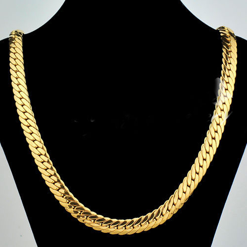 Solid 9ct Yellow Gold Gf Open Link Wide Chain Necklace 23