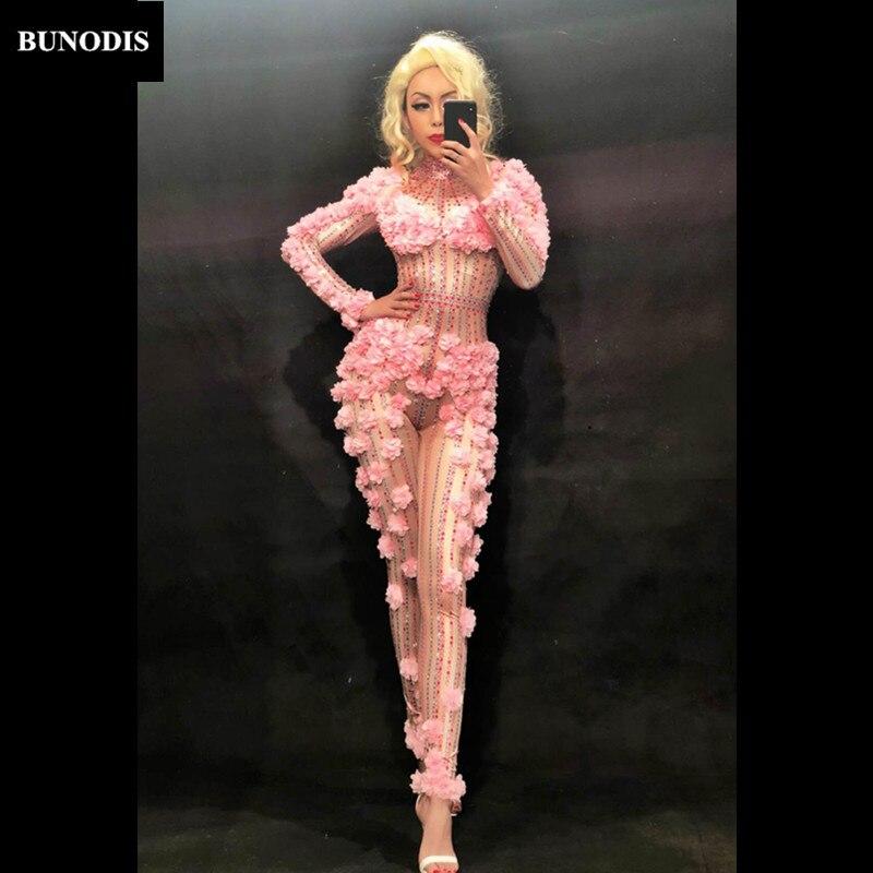Fête Danseur Combinaison Discothèque Bu205 Plein Body Porter Mode Chanteur Scène Petites Sexy De Fleurs Femmes Défilé Costumes Roses 5j34RALq