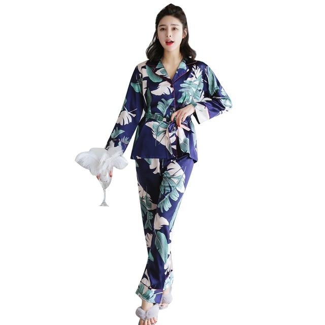 be1b371fb5c5 Polka Dot Printing Women Pajama Set Silk Satin Pajamas Women s Autumn  Winter Sleepwear Long sleeve Top+ Pants 2 pcs Pyjamas Set