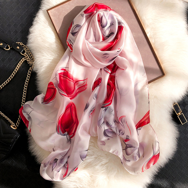 spring summer new design soft floral printed long wraps ladies silk scarves women 2019
