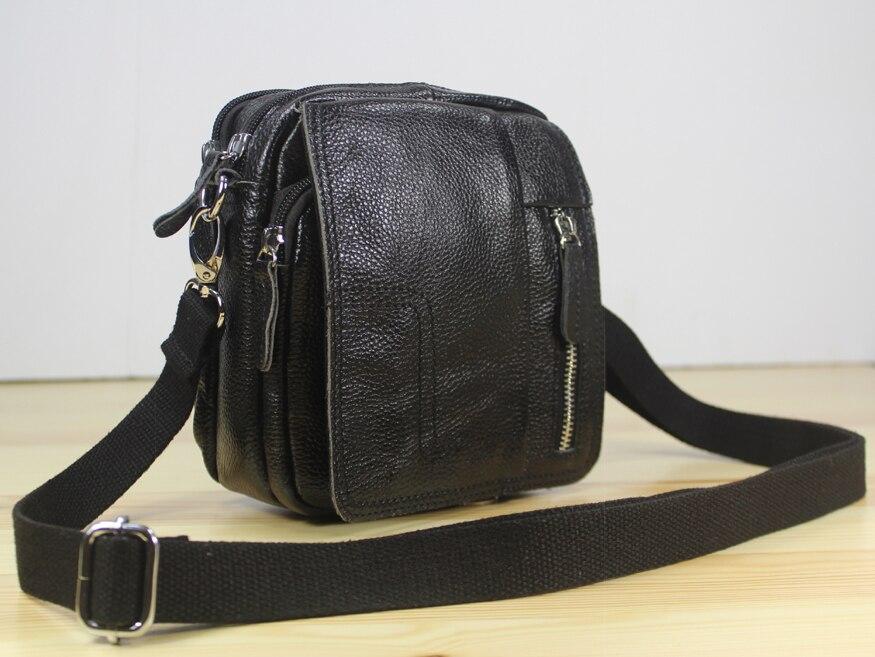 ФОТО 2015 Fashion Genuine Leather messenger bags Men shoulder bags genuine leather small bag for men crossbody Bag Casual Black M152