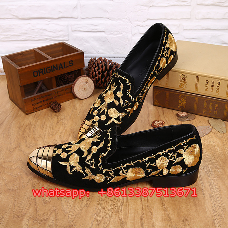 Luxury Brand High Quality Gold Embroidery Black Suede Men Loafers Slip On Fashion Mens Flats Casual Shoes Zapatos Hombre