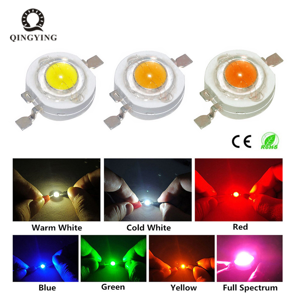 10pcs 1W LED 3W High Power LED Chip Light Beads Cold White Warm White Red Green Blue Yellow For SpotLight Downlight Lamp Bulb