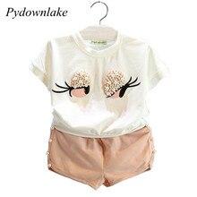 Pydownlake Girls Clothing Set Pearl Girls Clothes Set Lovely Long Eyelashes Toddler Girl tops + Pants Girls Suit Kids Clothes цена