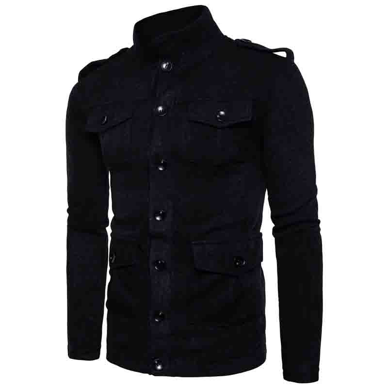 HOT 2020 autumn Winter Foreign leisure fashion single-breasted sweater multi pocket thicken knit jacket men Blends warm coat