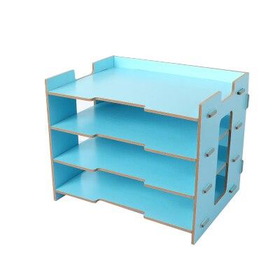 Деревянный держатель для журналов, экологичный держатель для файлов, Настольные принадлежности, органайзер, папка для файлов, стеллажи, коробка для хранения - Цвет: Синий