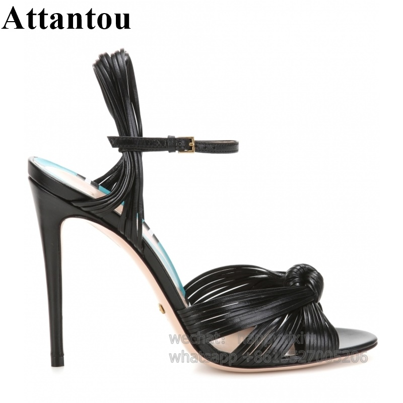 Fashion PU Leather Thin Lace Up Bowknot Show Shoes Women Concise Design Summer Party Sandals