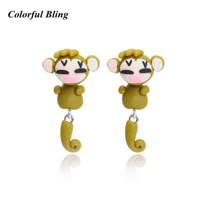 חדש עיצוב בעבודת יד פולימר יפה חימר חמוד קוף עגיל תכשיטים קריקטורה 3D בעלי החיים עגילי נשים