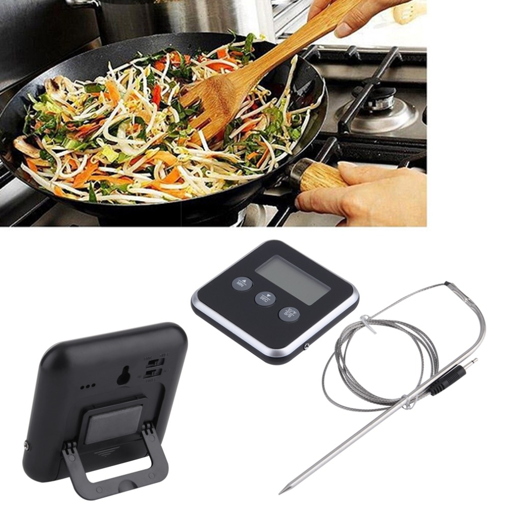 1Pc Digital Display C/F Food Thermometer Probe Timer Meter Household Cooking Kitchen BBQ Meat Light Weight Portable Compact