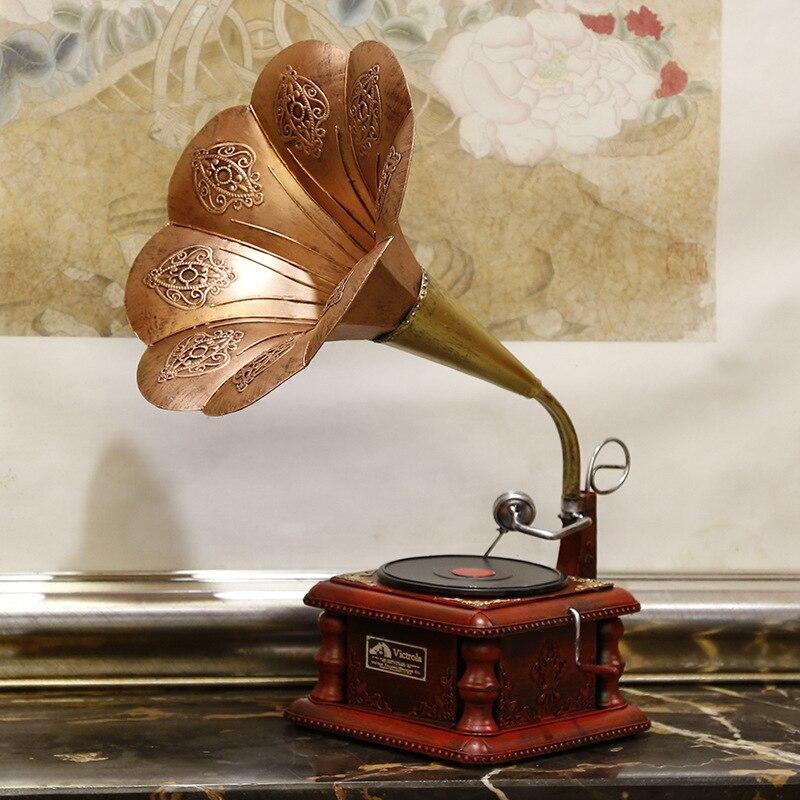 Nouveau rétro fer moyen sculpté Gramophone modèle lecteur de disque photographie accessoires nostalgique décoration décor maison accessoires artisanat