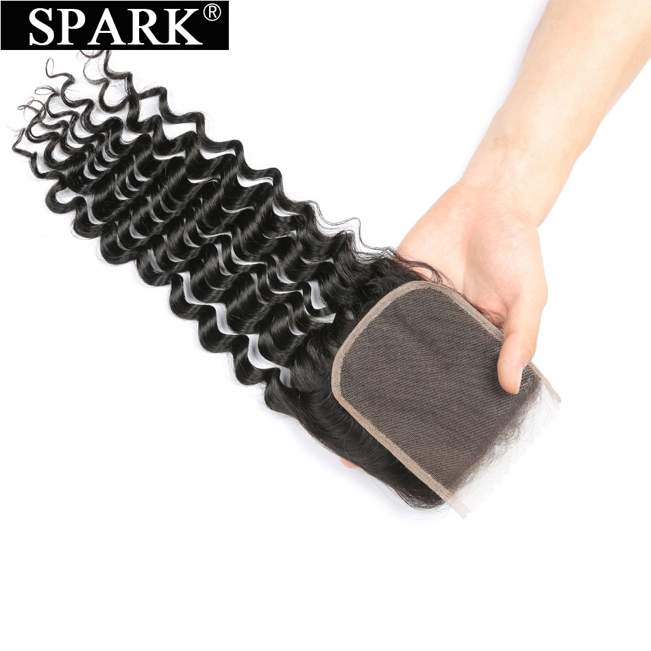 Spark Remy Hair Brazilian Deep Curly Lace Closure Natural Color 4x4 Free Part Middle Part Three Part Human Hair Closure