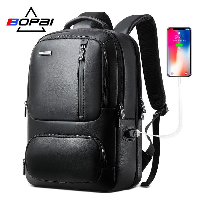 BOPAI sac à dos en cuir véritable sac à dos pour ordinateur portable pour homme pour 15.6 pouces Port de chargement USB agrandir sac à dos d'affaires sac à dos Anti-vol
