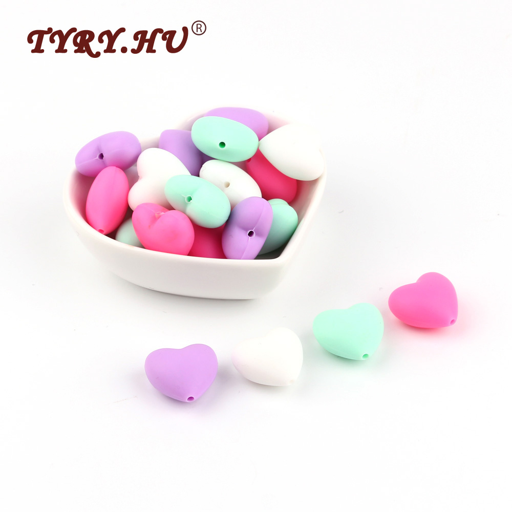 TYRY.HU 20Pcs Silicone Heart Beads Baby Teething Beads BPA Free Food Grade Baby Chewable Beads Shower Gifts DIY Nursing Necklace best bpa free food grade diy silicone baby chew beads teething necklace nursing jewelry chewable teether for mom mun to wear
