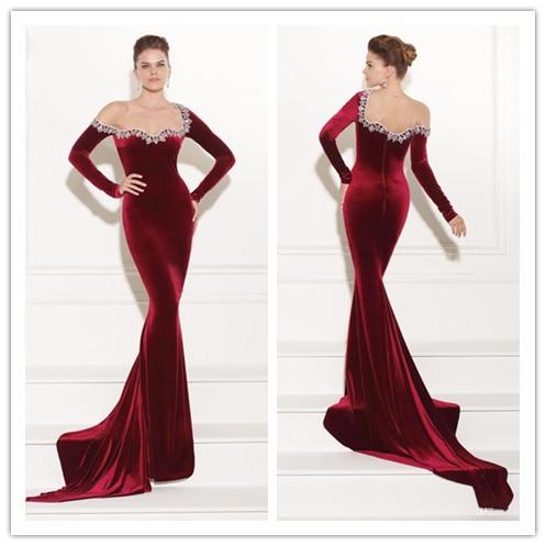 Popular Velvet Red Long Sleeve Evening Dress-Buy Cheap Velvet Red ...