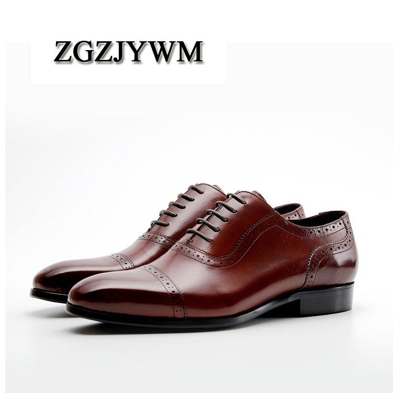 168d878d1b A Sólido brown marrón Mano Cordones rojo Boda Hecho Zgzjywm Zapatos Genuino  Otoño Formales Negro Vestido Primavera Charol Black Hombres Italiano ...