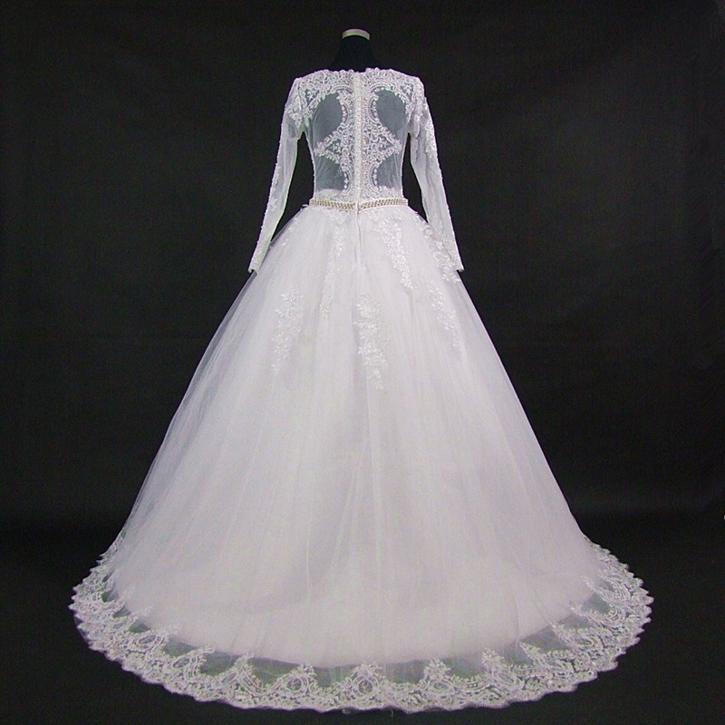 QQ Lover 2019 New Arrival Full Sleeve A Line Lace Wedding Dress Amazing Back Design Wedding Gown Bridal Dress Vestido De Noiva