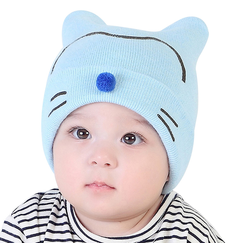 Cute Cat Baby Hat Knit Cotton Infant Hat Soft Newborn Baby Cap Bear . d40cfd29d02a