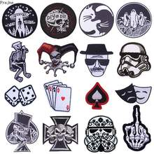 Prajna Cartoon Dice Heart Iron Patches For Clothing Mr Robot OOPS Cat Zipper Embroidered On Clothes Stripe Skull