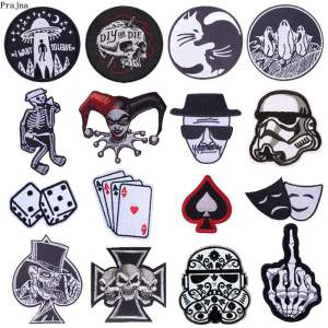 Prajna Cartoon Dice Heart Iron Patches For Clothing Mr Robot OOPS Cat Zipper Embroidered Iron On Patches On Clothes Stripe Skull(China)