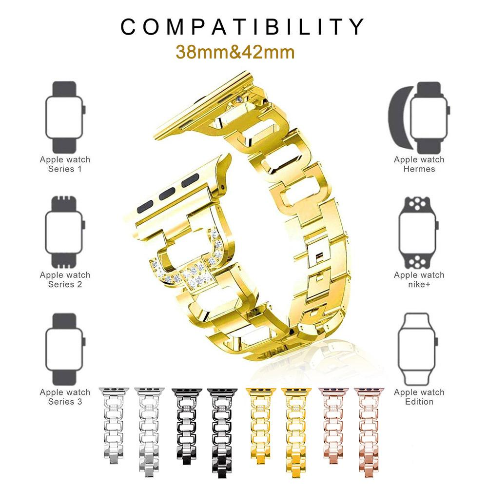 Strap Large D-Studded Steel Watchband Metal Stainless Steel Watch Strap For Apple Watch Replacement Metal Band(China)