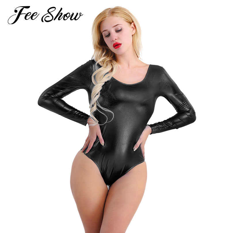 00622aba4cf Women's Adult Shiny Patent Leather Long Sleeves Ballet Dancewear One-piece  Thong Monokini Bodycon Ballet