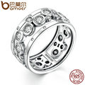 BAMOER Wedding Ring Real 925 Sterling Silver Classic Round Circle Big Finger Ring Women Fashion DIY Jewelry SCR008