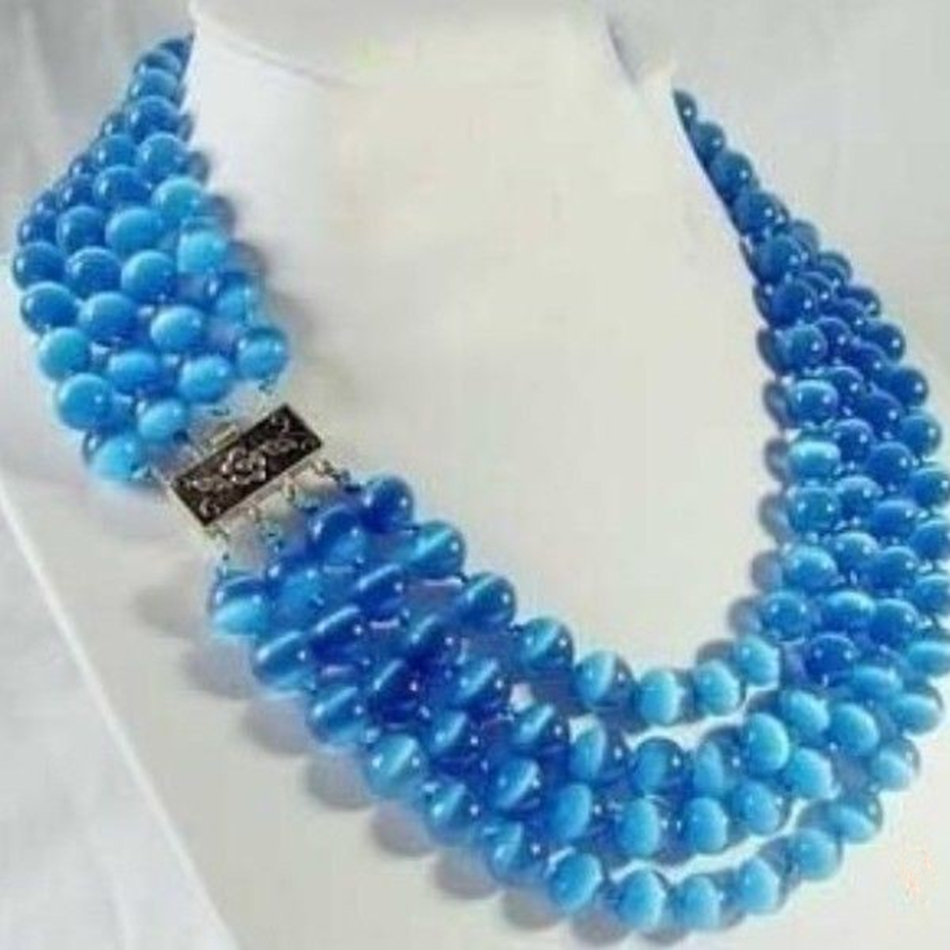 """Fashion rwre 4 rows 8mm glass blue cat <font><b>eyes</b></font> round beads stone high grade women weddings party gifts jewelry 17-20\"""" MY5173"""