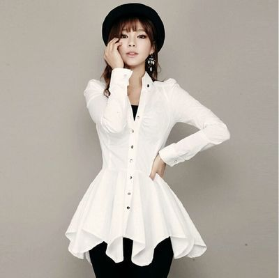 Aliexpress.com : Buy New Asymmetrical Long Sleeve White Shirt ...