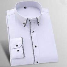 جديد وصول منقوشة حافة زر أسفل طوق كم طويل سليم صالح الرعاية سهلة نوعية جيدة الصلبة الرسمي الأعمال الرجال اللباس قمصان