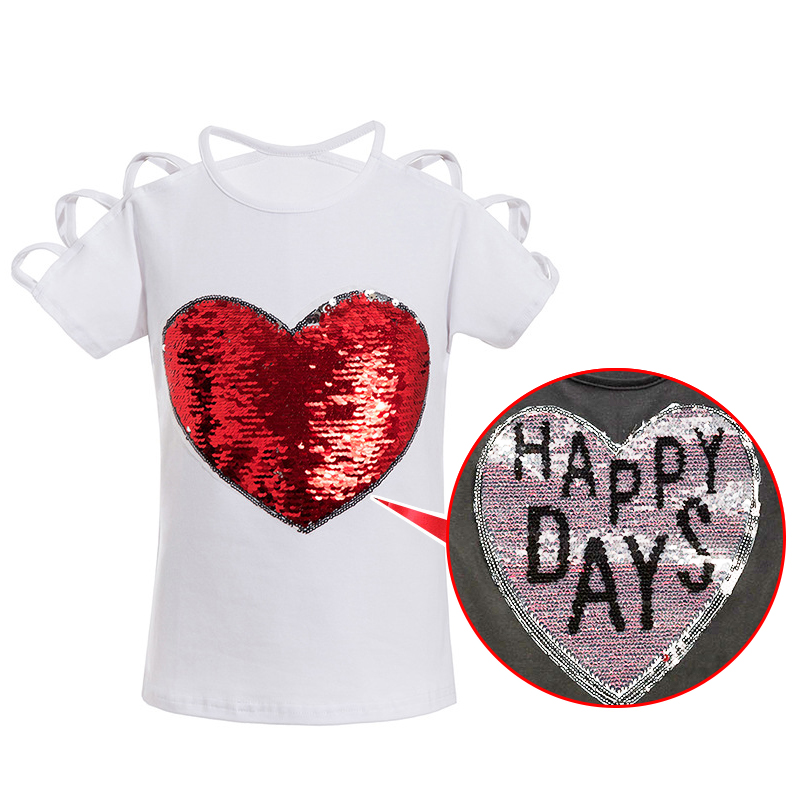 Hartkleur Veranderende Omkeerbare Pailletten Harten Meisjes T-shirts - Kinderkleding - Foto 4