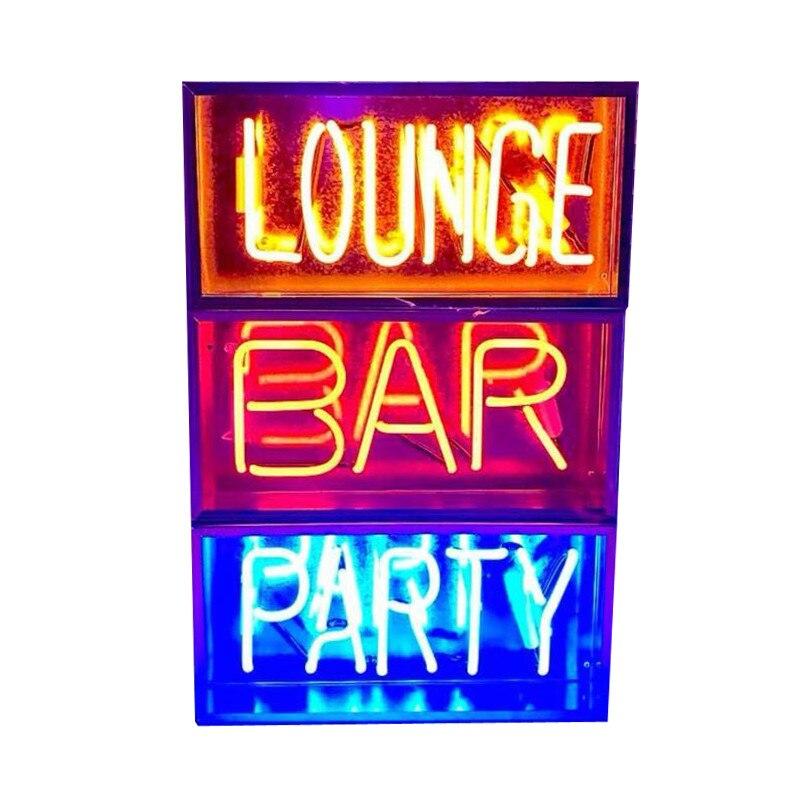 Nouveau métal boîte salon Bar néon signe Tube lumière vrai verre Tube artisanat KTV Pub lampe personnalisée lampe éclairage AC 220 V 230 V 110 V - 4
