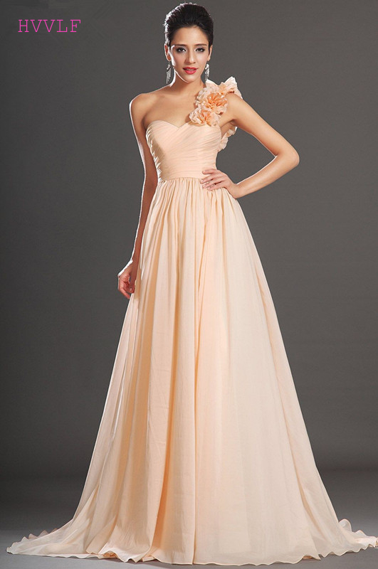 Peach 2019 Cheap   Bridesmaid     Dresses   Under 50 A-line One-shoulder Chiffon Flowers Backless Wedding Party   Dresses