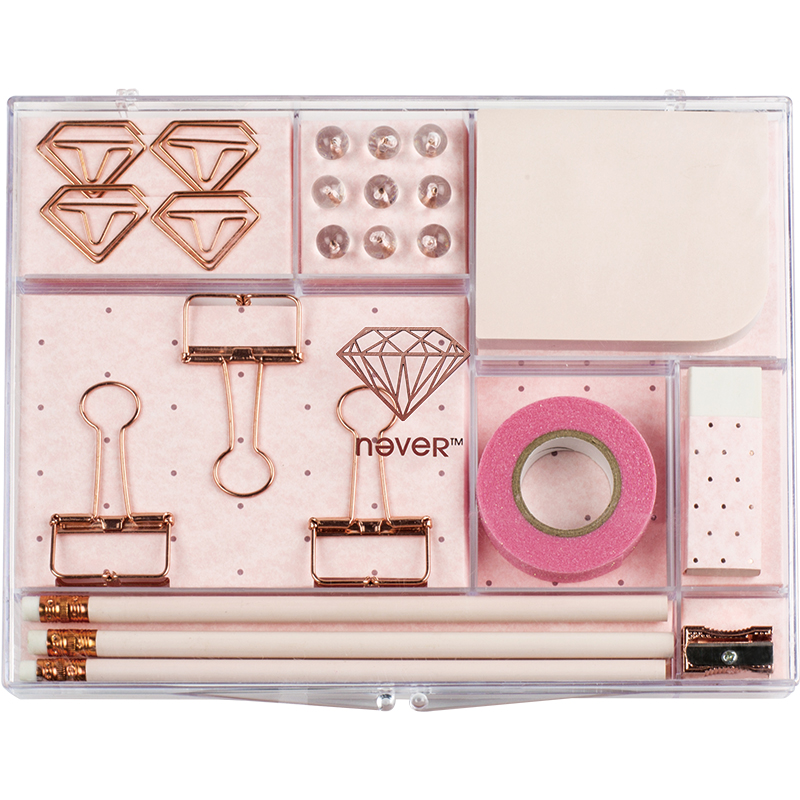 Pencil Sharpener Dovetail Clip Tape Notes Rubber Pencil Rose Gold Gift Box Paper Clips Nails Combination For School&Office недорго, оригинальная цена