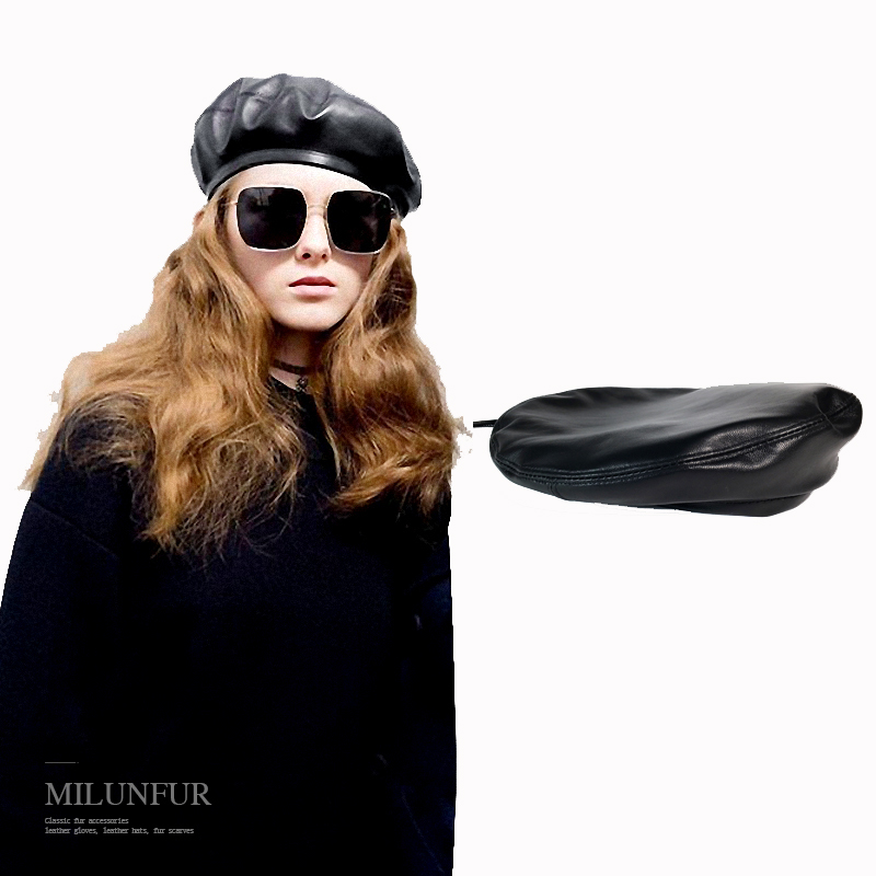Pud fur genuine leather european America style female hat lambskin Hat Beret Hat Jazz Hip Hop artist female sheepskin hat image